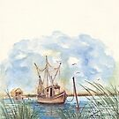 Silent Shallows - Home from Shrimping by Kate Eller
