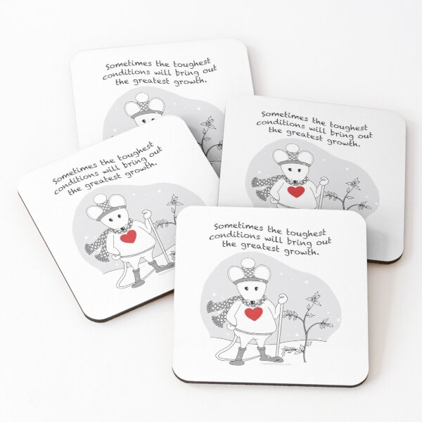 MantraMouse® Greatest Growth Snow Mouse Cartoon Coasters (Set of 4)