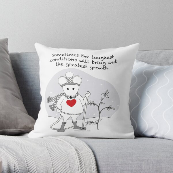 MantraMouse® Greatest Growth Snow Mouse Cartoon Throw Pillow