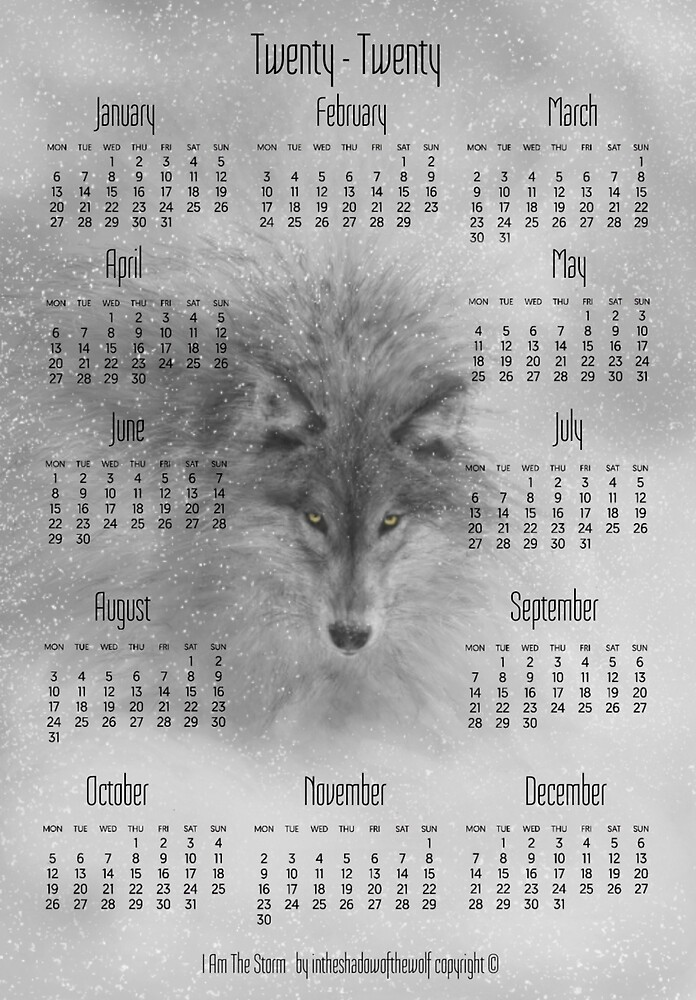 I Am The Storm 2020 Calendar by WolfShadow27