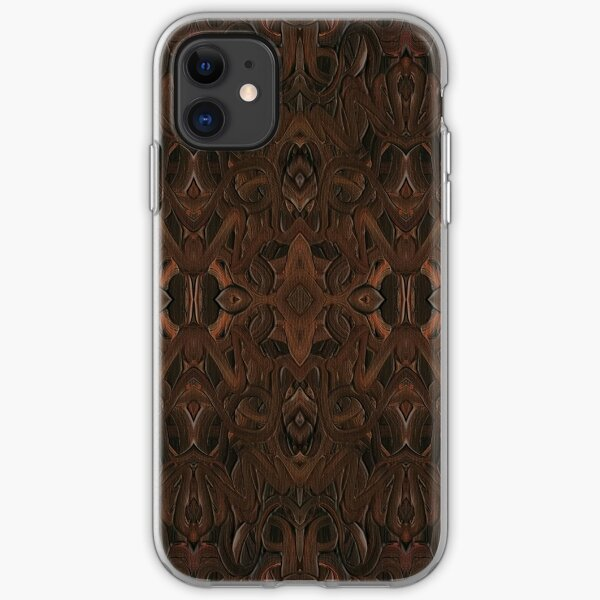 Carved Walnut Wood iPhone Soft Case