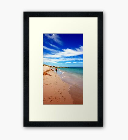 Man and his dog - Footprints in the Sand Framed Print