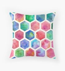 Hand Painted Watercolor Honeycomb Pattern Throw Pillow