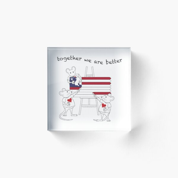 MantraMouse® American Flag Together Cartoon Acrylic Block