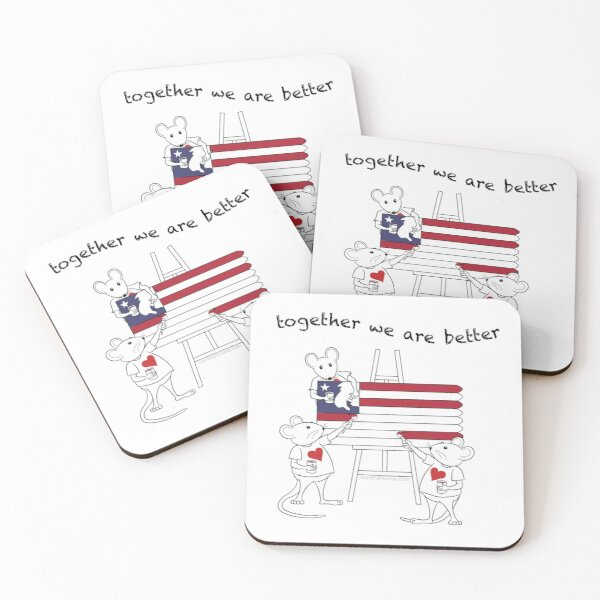 MantraMouse® American Flag Together Cartoon Coasters (Set of 4)