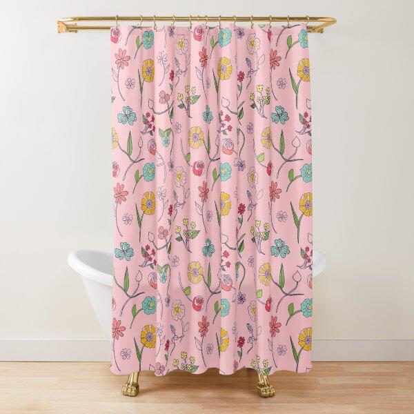 Botanical sketch pink Shower Curtain