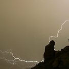 The Praying Monk Lightning Strike Sepia Print by Bo Insogna