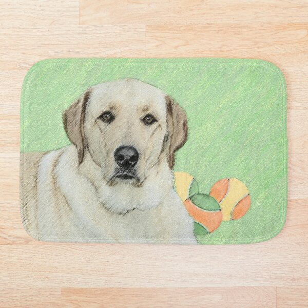Labrador Retriever Yellow with Tennis Balls Bath Mat