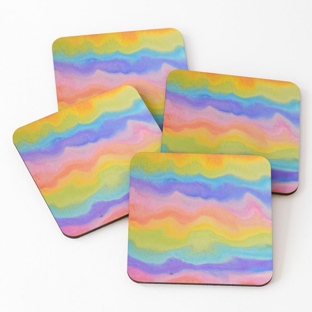 rainbow abstract, melt / rainbow paint splurge Coasters (Set of 4)