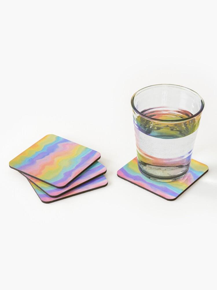 Alternate view of rainbow abstract, melt / rainbow paint splurge Coasters (Set of 4)