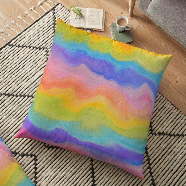 rainbow abstract, melt / rainbow paint splurge Floor Pillow