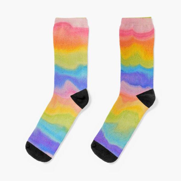 rainbow abstract, melt / rainbow paint splurge Socks