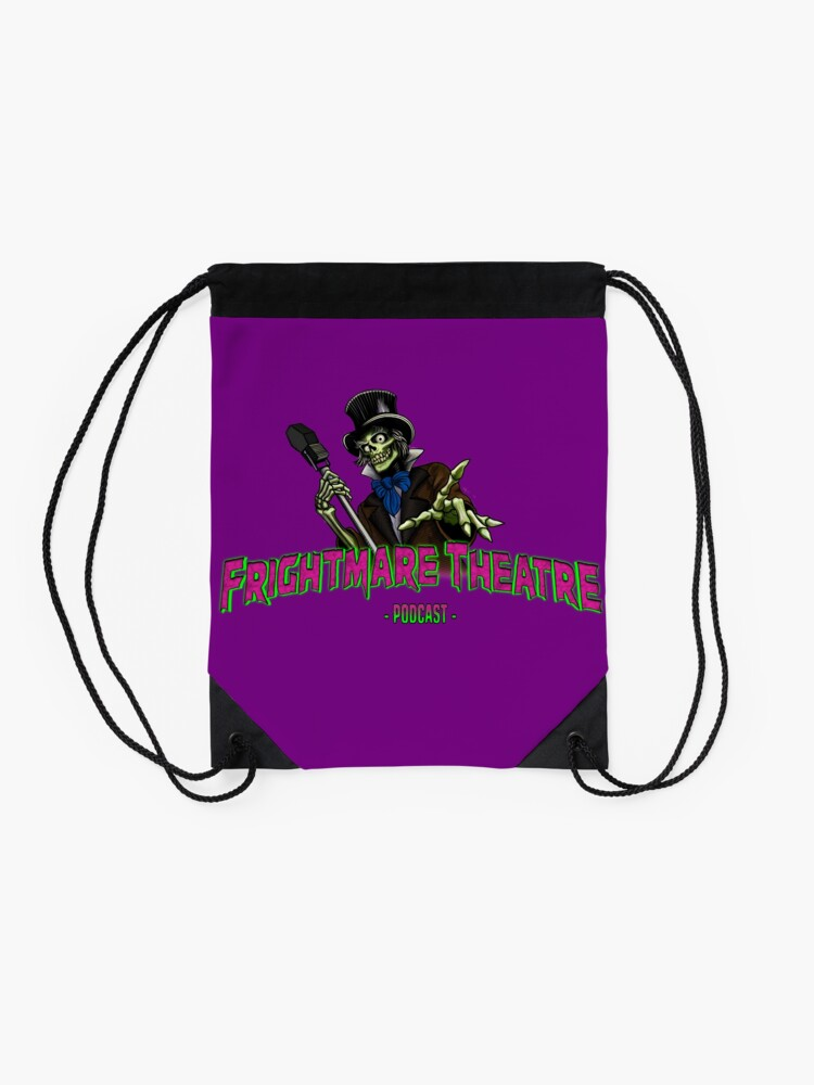 Alternate view of Official FRIGHTMARE THEATRE PODCAST LOGO Drawstring Bag