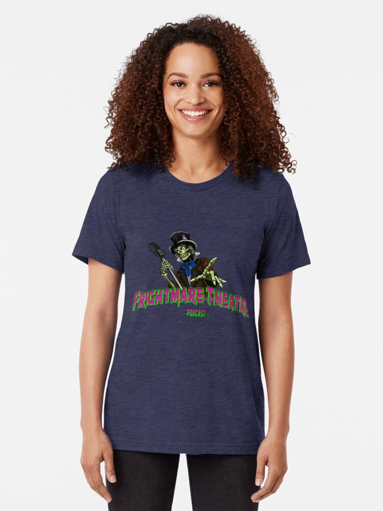 Alternate view of Official FRIGHTMARE THEATRE PODCAST LOGO Tri-blend T-Shirt