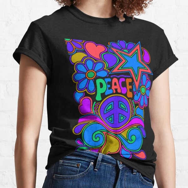 Peace and Love Flowers and Stars Hippie Design Classic T-Shirt