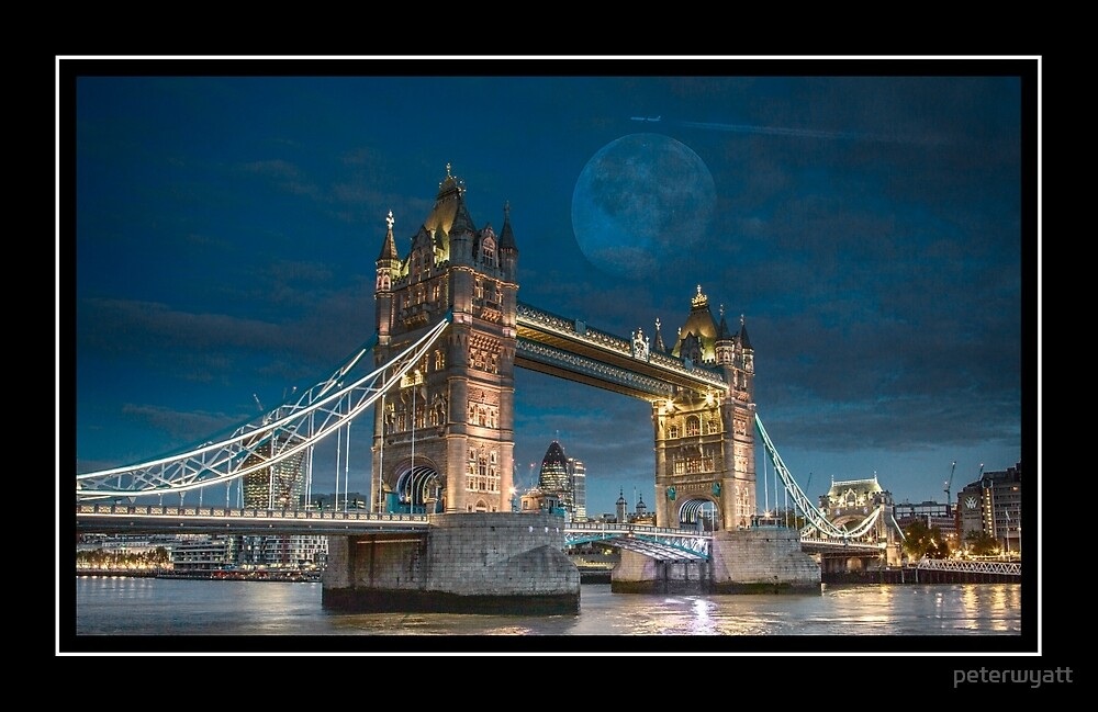 Tower bridge and moon rise by peter wyatt