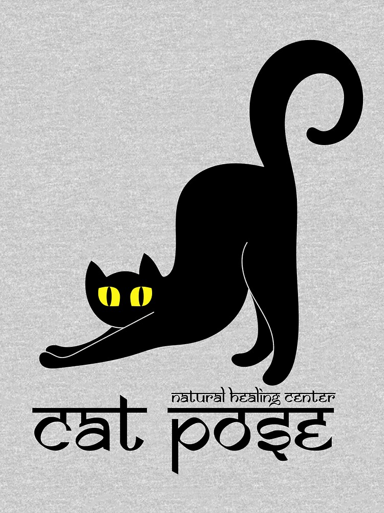 Cat Pose 2 - Cat Yoga (black text) by NaturalHealing