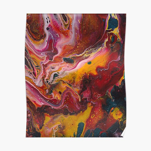 Primary Color Paint Pour Poster