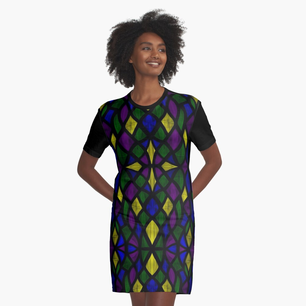 Stained Glass Scales Graphic T-Shirt Dress