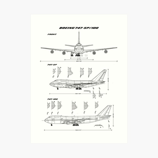 Boeing 747-SP and 747-100 Blueprint Art Print