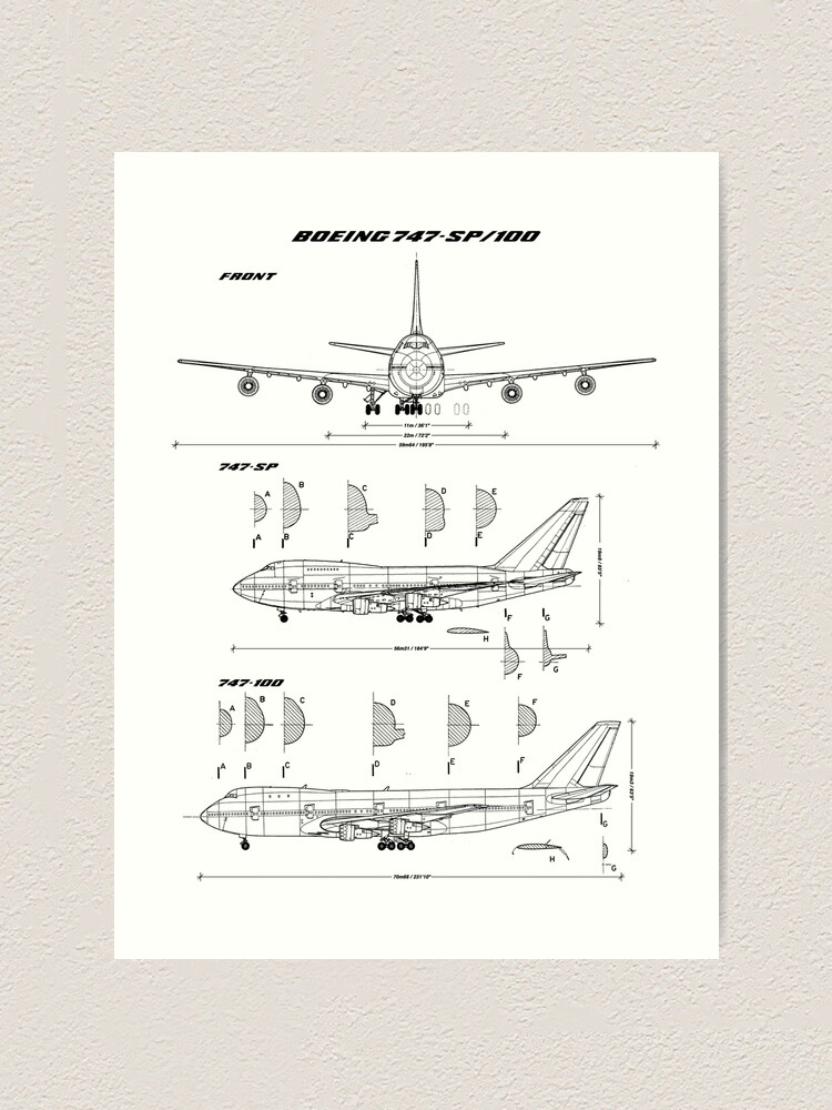 Alternate view of Boeing 747-SP and 747-100 Blueprint Art Print
