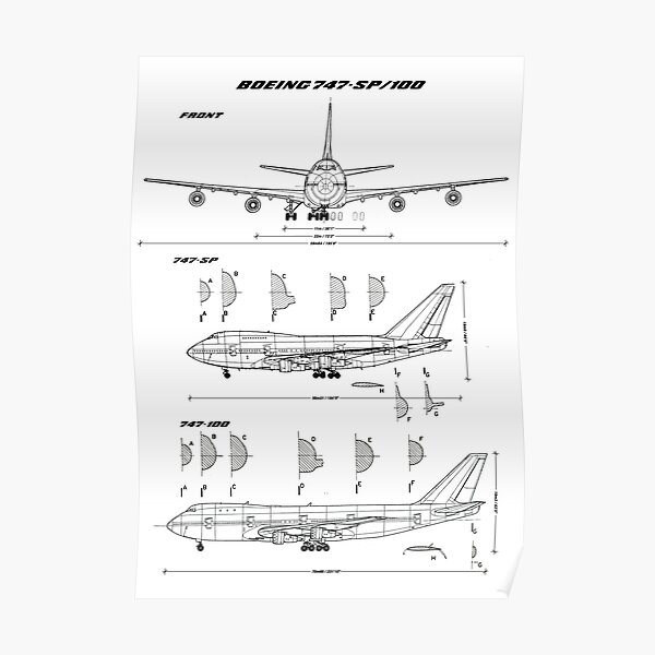Boeing 747-SP and 747-100 Blueprint Poster