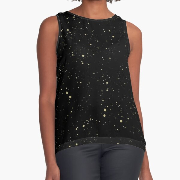 Simple Black and Gold Speckled Pattern Sleeveless Top
