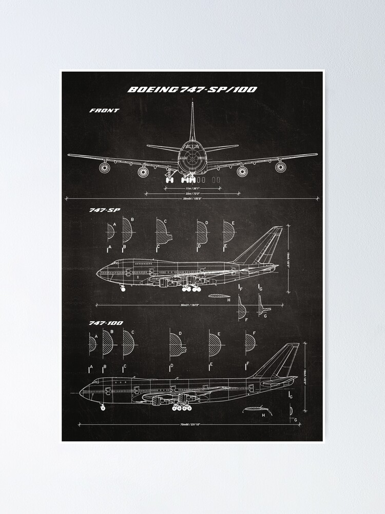 Alternate view of Boeing 747-SP & 747-100 Concept Drawing Blueprint (chalkboard) Poster