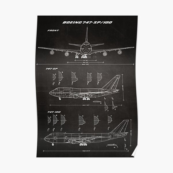 Boeing 747-SP & 747-100 Concept Drawing Blueprint (chalkboard) Poster