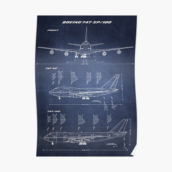 Boeing 747-SP & 747-100 Concept Drawing (dark blueprint) Poster