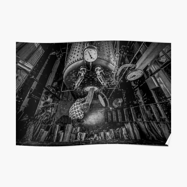 The Paddle Steamer Fireman (black & white) Poster