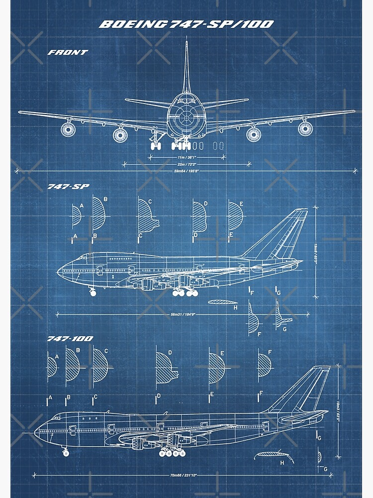 Boeing 747-SP & 747-100 Concept Drawing (light blueprint) by RHorowitz