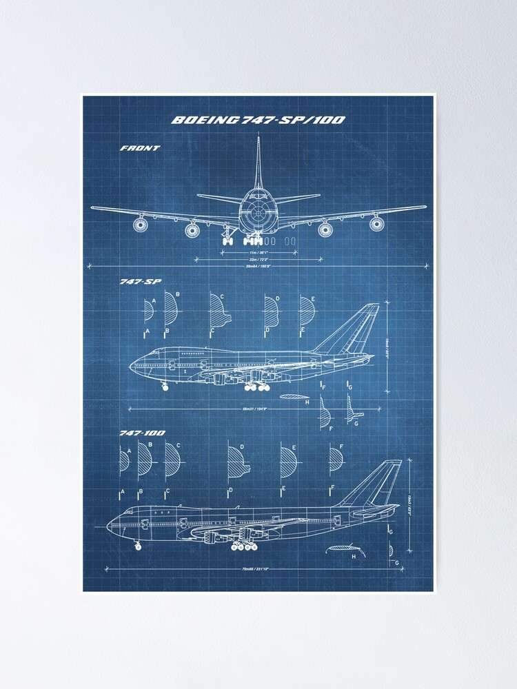 Alternate view of Boeing 747-SP & 747-100 Concept Drawing (light blueprint) Poster