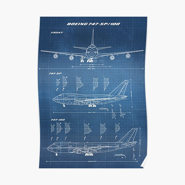 Boeing 747-SP & 747-100 Concept Drawing (light blueprint) Poster