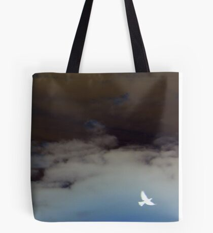 hope (clouded sky, white bird flying free) Tote Bag