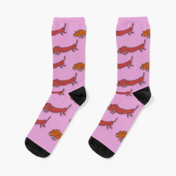 Dachshund Weiner Dog Socks! Original Art - Pink Socks