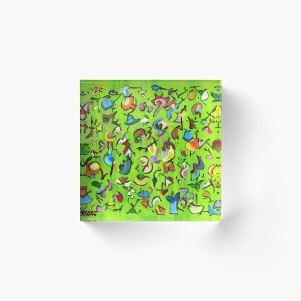 Birds and Bugs. Abstract expressionist acrylic painting by Pamela Parsons. green Acrylic Block