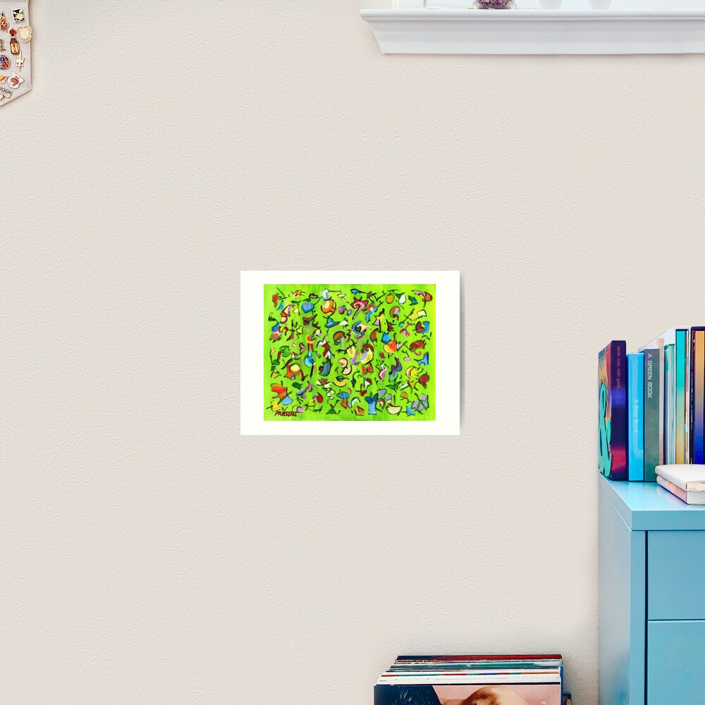 Birds and Bugs. Abstract expressionist acrylic painting by Pamela Parsons. green Art Print
