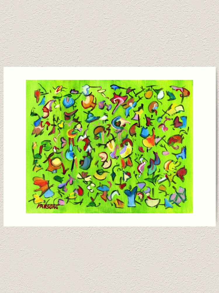 Alternate view of Birds and Bugs. Abstract expressionist acrylic painting by Pamela Parsons. green Art Print