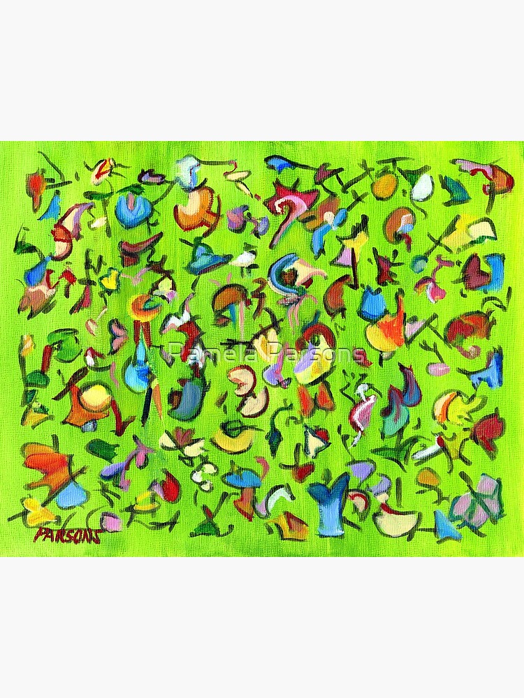Birds and Bugs. Abstract expressionist acrylic painting by Pamela Parsons. green by parsonsp