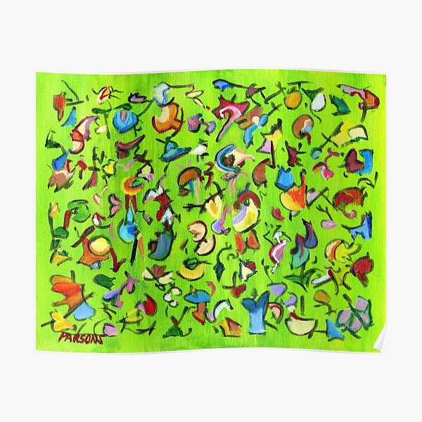 Birds and Bugs. Abstract expressionist acrylic painting by Pamela Parsons. green Poster
