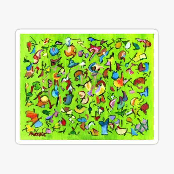 Birds and Bugs. Abstract expressionist acrylic painting by Pamela Parsons. green Sticker