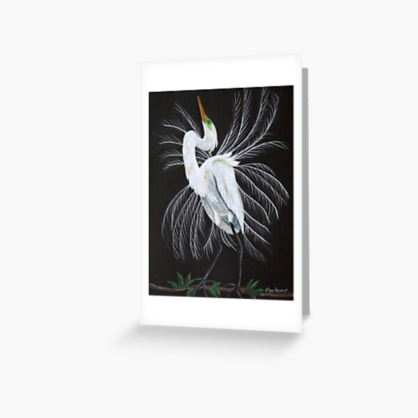 Great egret mating display Greeting Card
