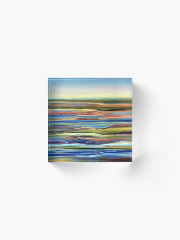 Alternate view of Salt Marsh Sunrise, Plum Island, Cape Ann, Massachusetts. From original oil painting by Pamela Parsons Acrylic Block