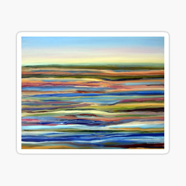 Salt Marsh Sunrise, Plum Island, Cape Ann, Massachusetts. From original oil painting by Pamela Parsons Sticker