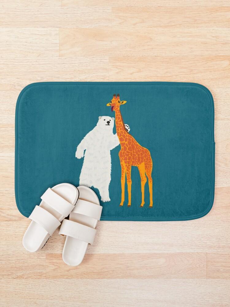 Alternate view of polar bear and giraffe, love is love Bath Mat