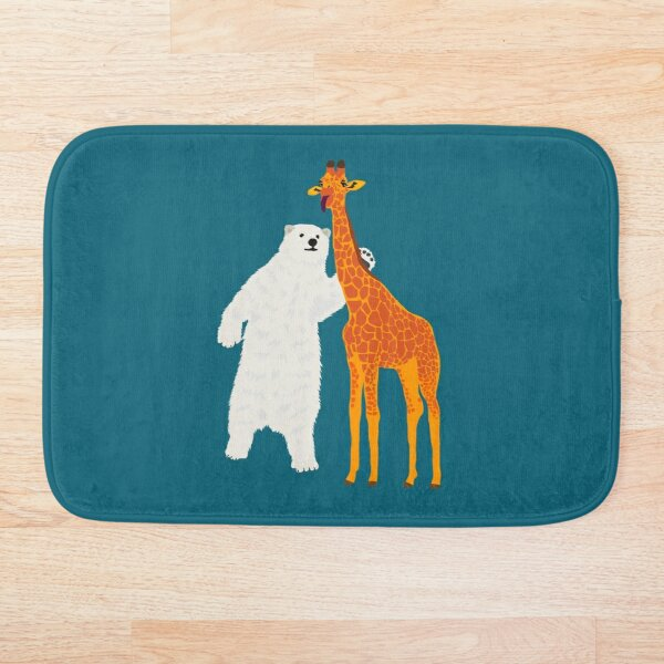 polar bear and giraffe, love is love Bath Mat
