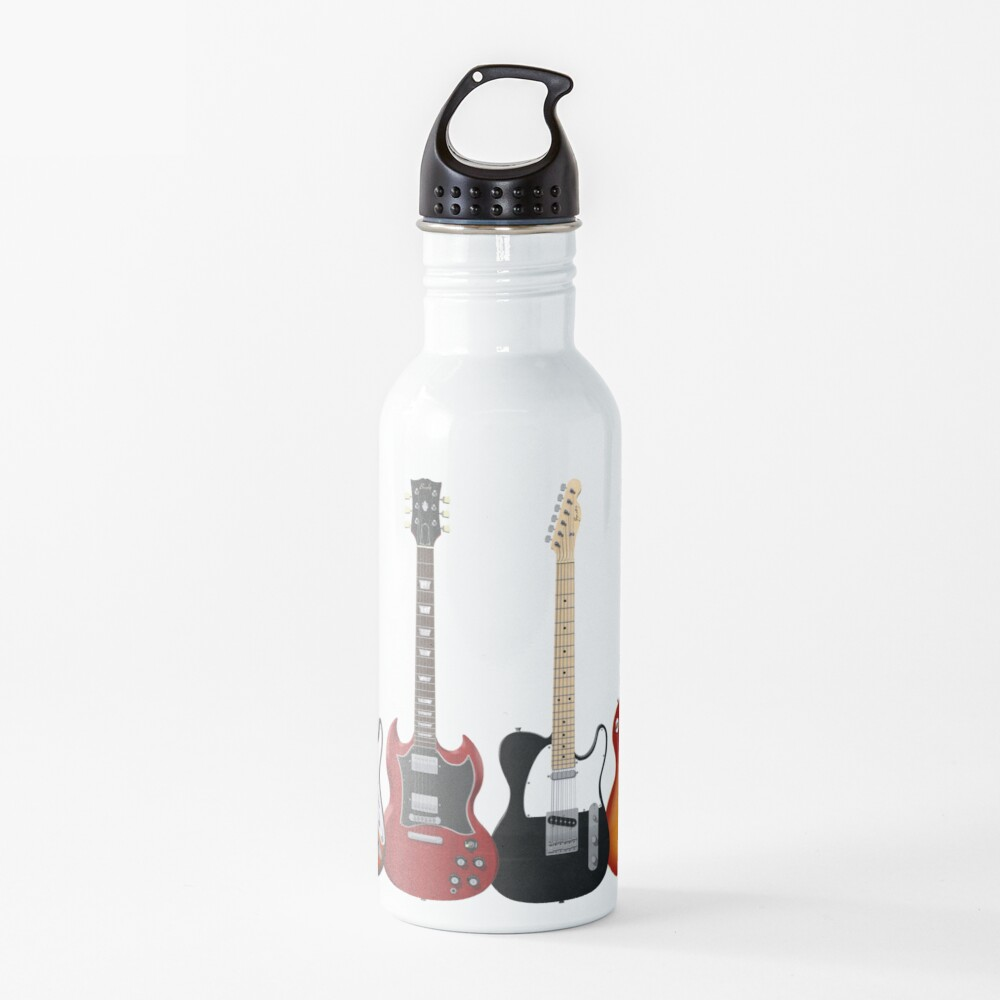 Four Electric Guitars Water Bottle