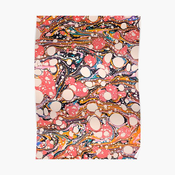 Psychedelic Retro Marbled Paper Pepe Psyche Poster