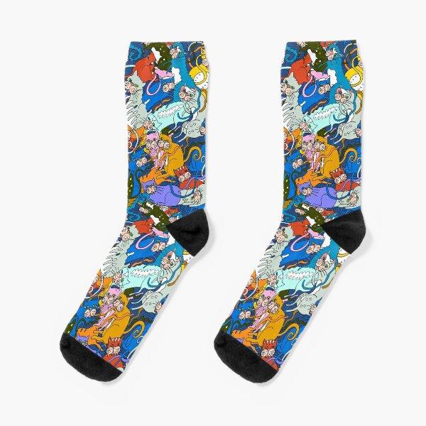 Pussy Galore Cats Kittens Socks! Original Art - All colors! Socks